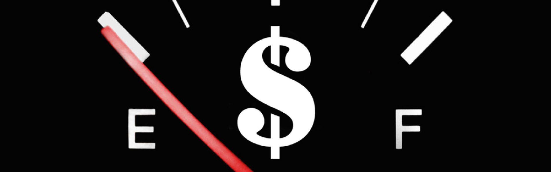 cash flow gage showing empty